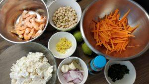 Crevettes sautées carottes chou fleur et coco de paimpol