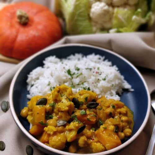 Curry chou fleur potiron pois chiche
