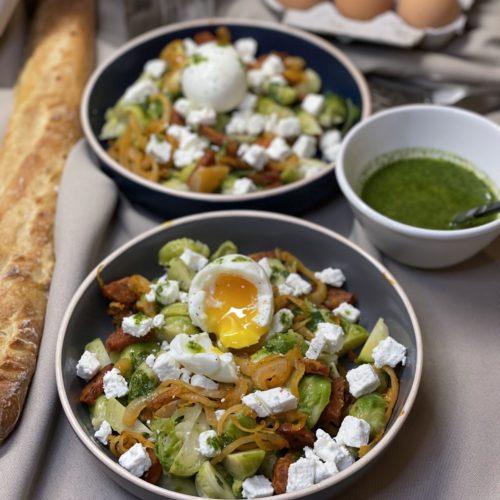 Choux bruxelle salade feta chorizo