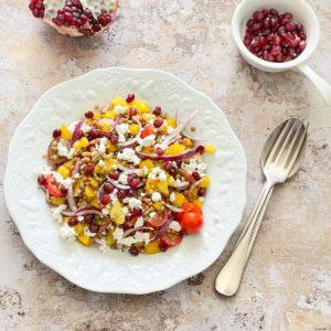 salade lentilles feta poivron grenade